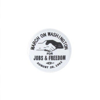 Badge March On Washington en métal (Blanc)