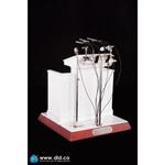 Pupitre en bois avec micros en métal (Blanc)
