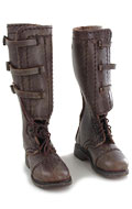 Leather US Cavalry Elk Hide Legging Top Laced Riding Boots (Brown)