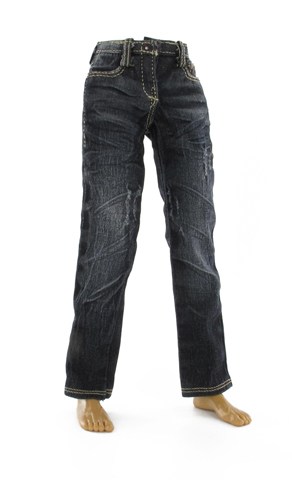 Black weathered denim trouser