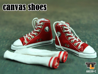 Red Converse canvas with socks