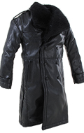 Leather Coat with Fur Collard (Black)