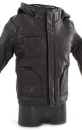Hooded Leather Jacket (Brown)