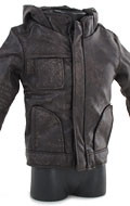 Battle Damaged Hooded Leather Jacket (Brown)