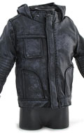 Veste en cuir à capuche Battle Damaged (Noir)