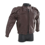 Blouson de motard Davidson Reflection Skull en cuir (Marron)
