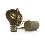 Worn M1915 Gas Mask with Diecast Canister (Coyote)