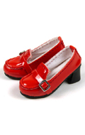 Shoes Series - High Platform Red Glossy Loafer Heel Shoes