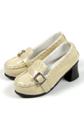 Shoes Series - High Platform Beige Glossy Loafer Heel Shoes