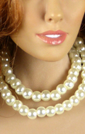 Double collier de perles (Blanc)