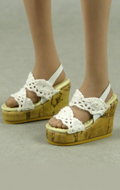 Lace Wedge Sling-Back Shoes (White)