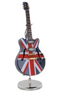 Electric guitar with Case and Display Stand (English Flag)