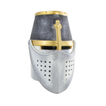 Die Cast Templar Helmet with Movable Visor (Grey)