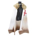 Cape de chevalier Templier avec col en fourrure (Blanc)