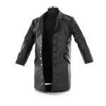 Medium black leather coat