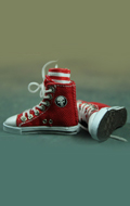 Female Red Converse canvas with socks