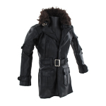 Leather Coat with Fur Collar (Black)