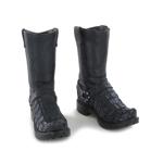 Crocodile Skin Biker Boots (Black)