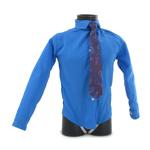 Chemise col italien rigide amidonné avec cravate (Bleu)
