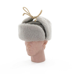 Ouchanka grey fur hat