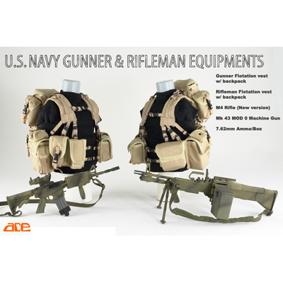 us navy gunner & rifleman equipment tan