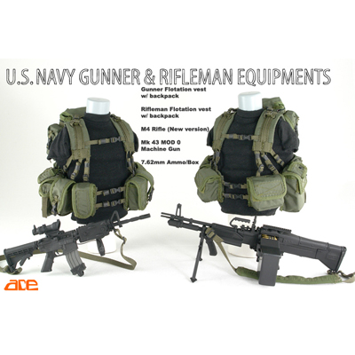 us navy gunner & rifleman equipment od