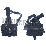 Porte chargeur triple noir de cuisse pour grenade fumigène ou chargeurs M4