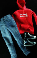 Red streetwear female clothes set