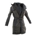 Manteau en cuir Battle Damaged (Marron)