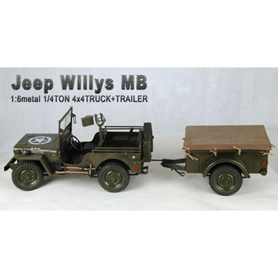 figurine 1 6 jeep willys mb jeep avec remorque et armure. Black Bedroom Furniture Sets. Home Design Ideas