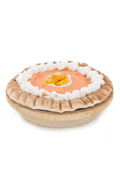 Orange pie with wood plate