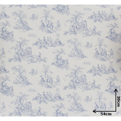papier peint toile de jouy bleu 54cmx30cm machinegun. Black Bedroom Furniture Sets. Home Design Ideas