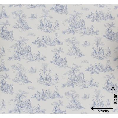 papier peint toile de jouy bleu 54cmx30cm machinegun