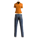 Polo orange et jean slim bleu