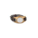 Watch with leather bracelet (Gold)