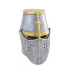 Casque de chevalier Templier en métal avec visière mobile (Gris)
