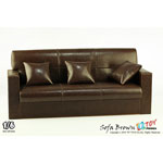 Sofa 3 places en cuir (Marron)