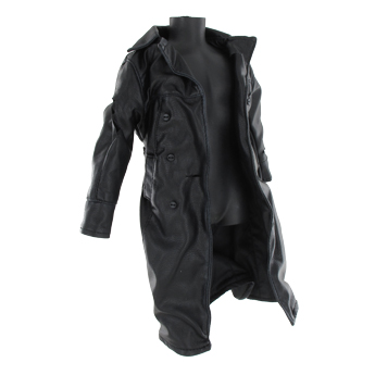 Manteau en cuir Battle Damaged (Noir)