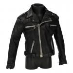 Veste de motard usée en cuir (Noir)