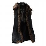 Manteau avec col en fourrure aspect enneigé taille adolescent (Noir)