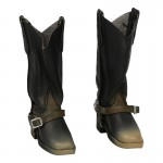 Worn Leather Boots with Diecast Spurs (Black)