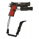 Pistolet Colt 45 M1911 ACP avec surefire et dragonne (Noir)