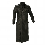 Leather Officer Coat (Black)