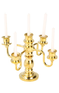 Diecast Candlestick with Candles (Gold)