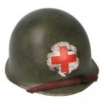 Casque M1 d'infirmier usé en métal (Olive Drab)