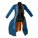 Manteau en cuir flexible (Bleu)