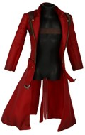 Flexible Trench Coat with Leather Scabbard and Holster Harness (Red)