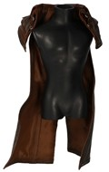 Cape redingote flexible en cuir (Marron)