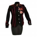 Female Suede Red Army Jacket with Diecast Medals (Black)