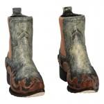 Worn Cowboy Santiags Boots (Beige)